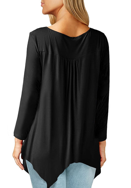 Back view of model wearing black asymmetrical long sleeves loose henley tunic top