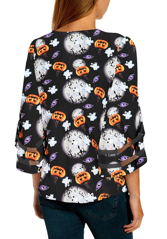 Black Bell Mesh Panel Sleeves Halloween Pumpkin-Print Loose Top