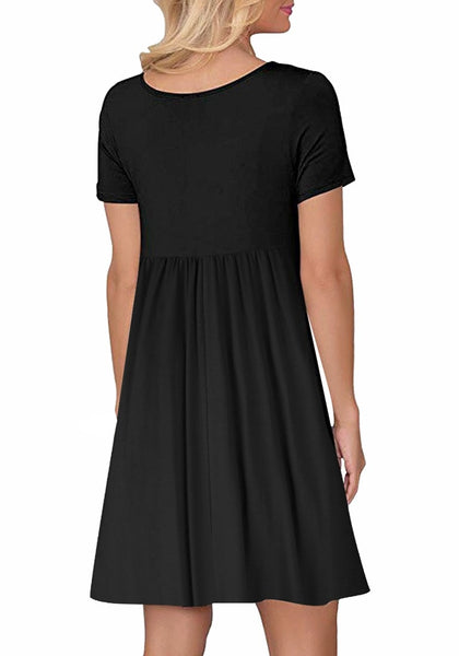 Back view of model wearing black button-down short sleeves flowy swing dress