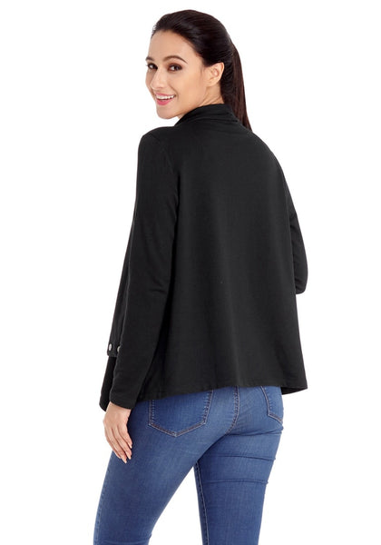 Back view of model wearing black button-embellished asymmetrical cardigan