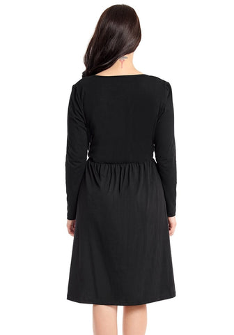 Black Button-Front Long Sleeves Skater Dress