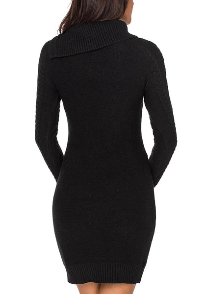 Back view of model wearing black cable knit split cowl neck sweater dress