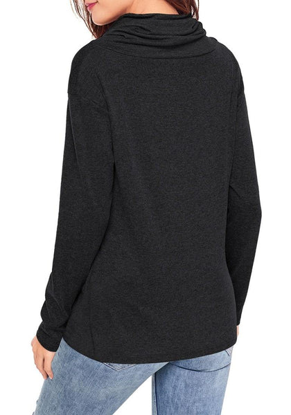 Back view of model wearing black cowl neck buttons twist-knot pullover