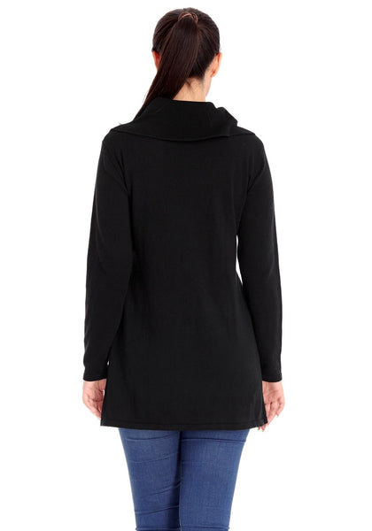 Back view of model wearing black double breasted long fit ribbed cotton cardigan