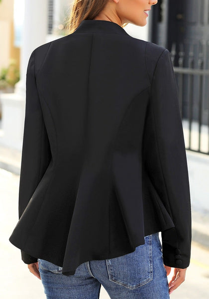 Back view of model wearing black double notch lapel peplum waist blazer