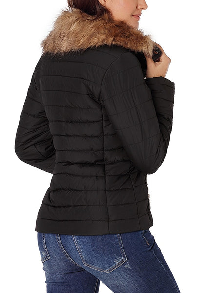 Back view of model wearing black faux fur collar zip up quilted jacket