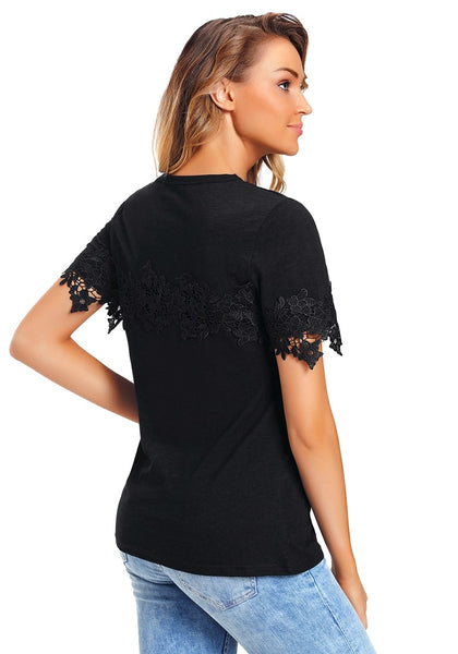 Back view of model wearing black floral crochet short sleeves blouse