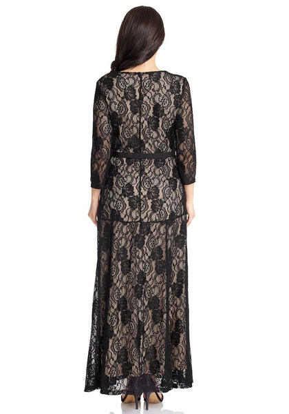 Back view of model wearing black floral hollow lace maxi dress