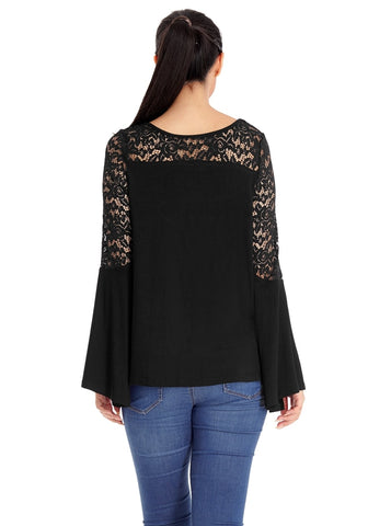 Black Floral Hollow Lace Trumpet Sleeves Top