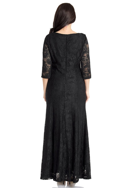 Back view of model wearing black floral lace overlay sweetheart neckline maxi dress