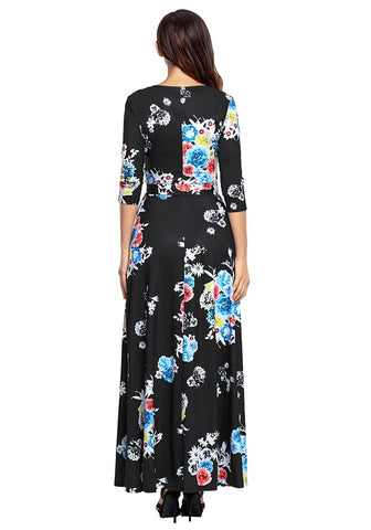 Black Floral Print Boho Long Faux Wrap Dress