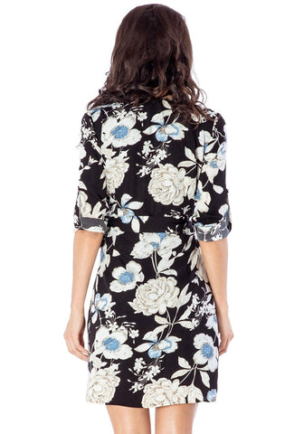 Black Floral Roll-Tab Sleeves Wrap Dress