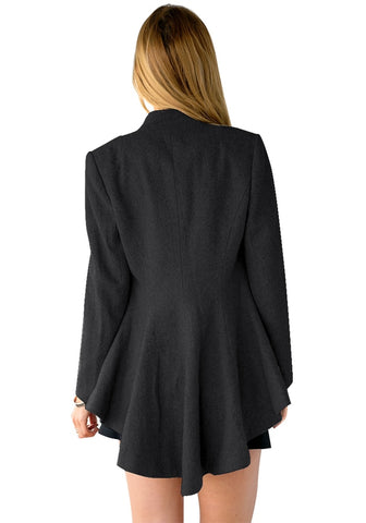 Black Button-Front Fit-and-Flare Asymmetrical Blazer