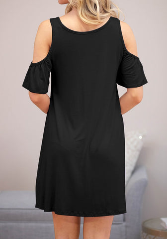 Black Half Sleeves Cold-Shoulder Shift Dress