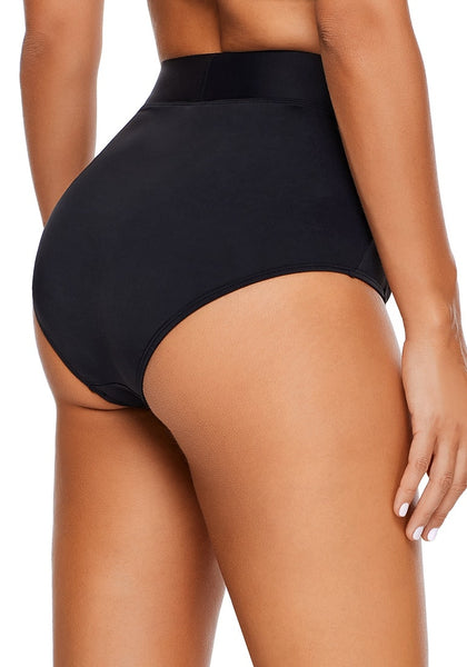 Back view of model wearing black high waist ruched bikini bottom
