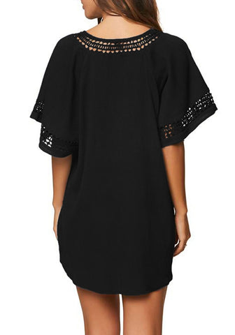 Black Hollow-Out Oversized Beach Cover-Up