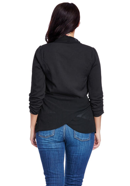 Back view of model wearing black knotted tulip hem cardigan