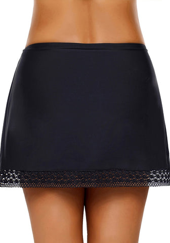 Black Lace-Trim Swim Skirt