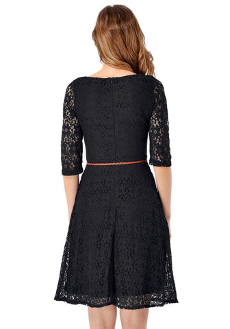 Black Lace Crop Sleeves A-Line Dress