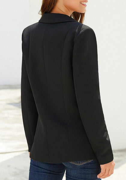 Back view of model wearing black lapel front-button side-pockets blazer
