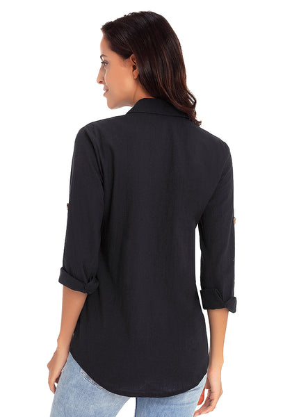 Back view of model wearing black long cuffed sleeves lapel button-up blouse