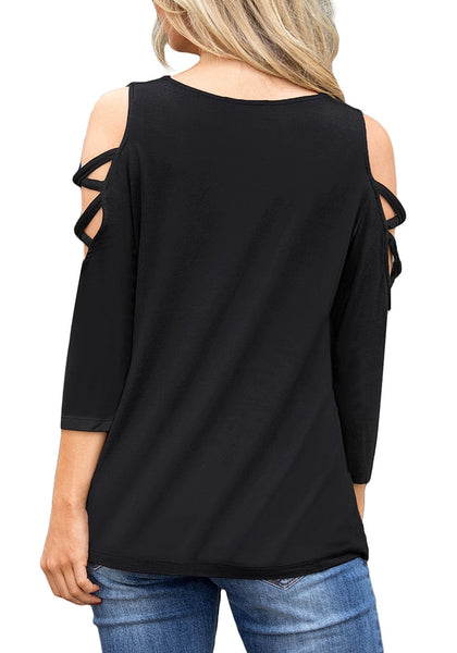 Back view of model wearing black long sleeves crisscross cold-shoulder blouse