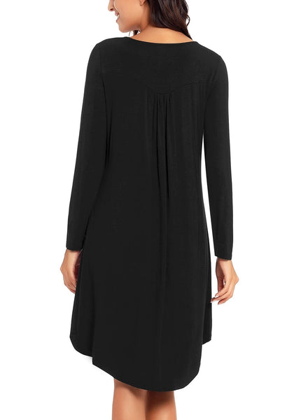 Back view of model wearing black long sleeves curved hem henley dress