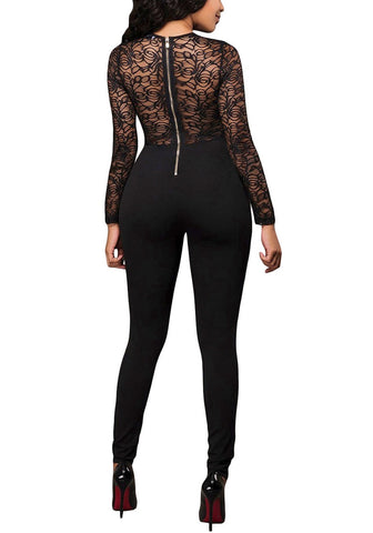 Black Long Sleeves Lace Jumpsuit