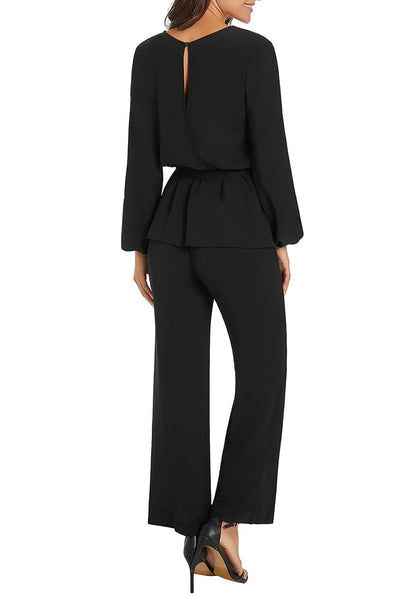 Back view of model wearing black long sleeves slit-back peplum jumpsuit