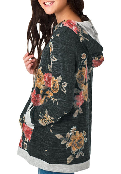 Back view of model wearing black melange floral-print hooded pullover girl top