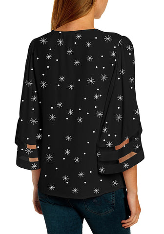 Black Bell Mesh Panel Sleeves V-Neckline Christmas-Print Loose Top