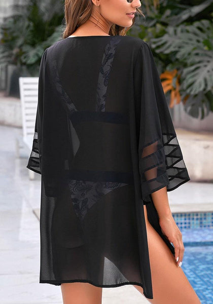 Back view of model wearing black mesh panel sleeves side-slit beach cover-up