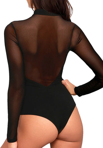 Black Mock Neck Sheer Mesh Long Sleeves Bodysuit