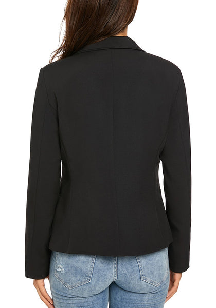 Back view of model wearing black notch lapel buttons open-front blazer