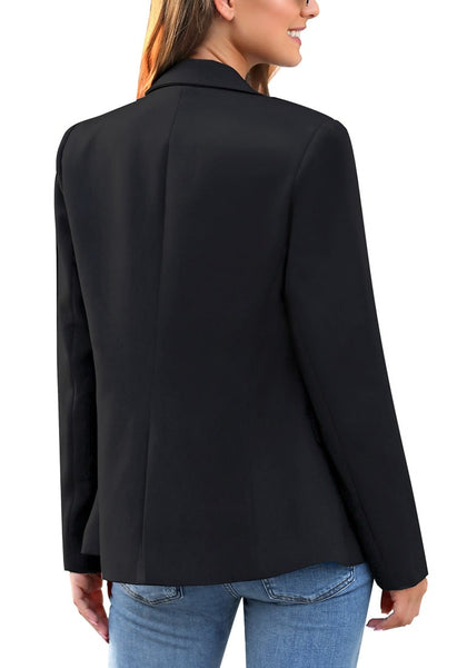 Back view of model wearing black notch lapel double-breasted blazer