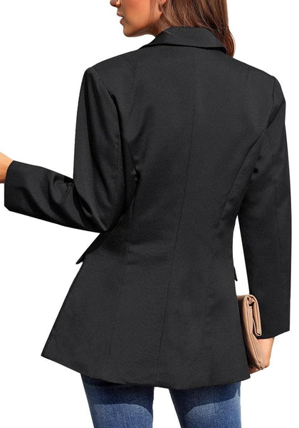 Back view of model wearing black notch lapel double-breasted side pockets blazer
