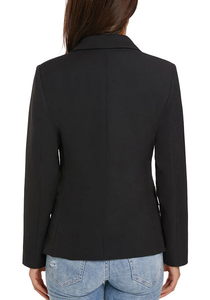 Back view of model wearing black notch lapel double breasted blazer