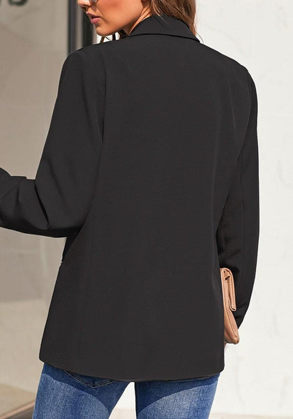 Back view of model wearing black notch lapel single-button plain blazer