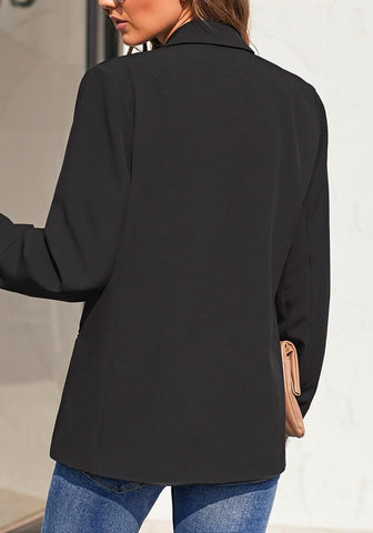 Black Notch Lapel Single-Button Plain Blazer