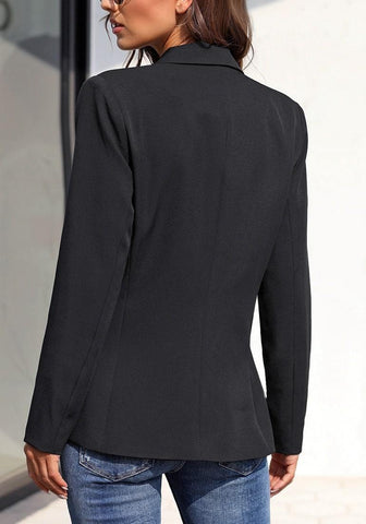 Black Notch Lapel Striped Lining Double-Breasted Blazer