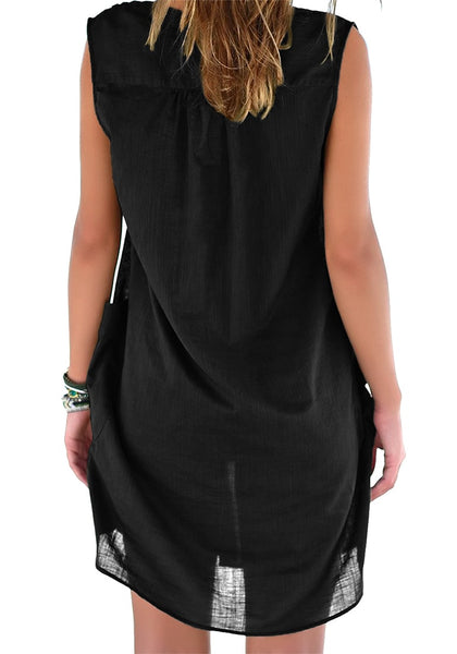 Back view of model wearing black notched V-neck sleeveless beach cover-up