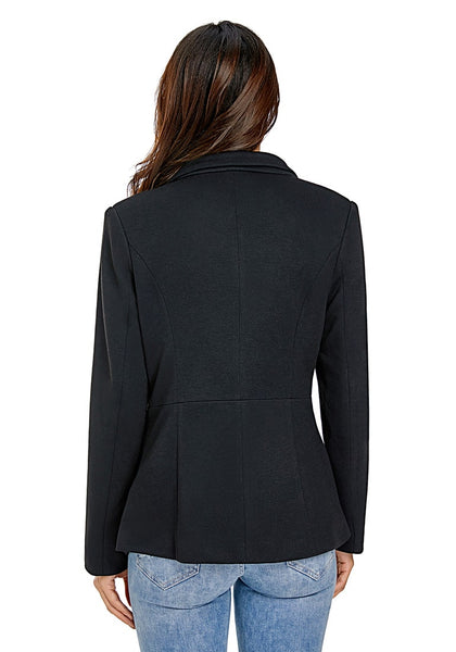Back view of model wearing black notched lapel side zip blazer