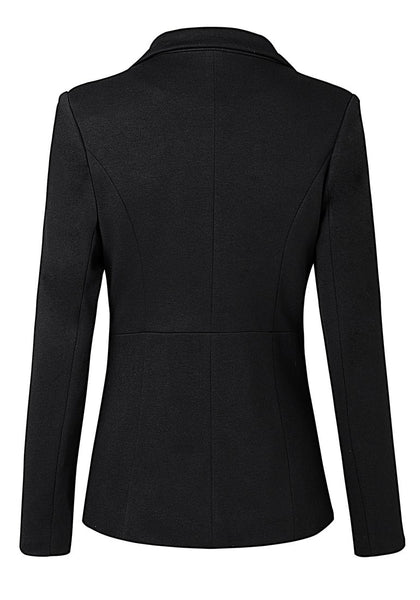 Black Notched Lapel Side Zip Blazer