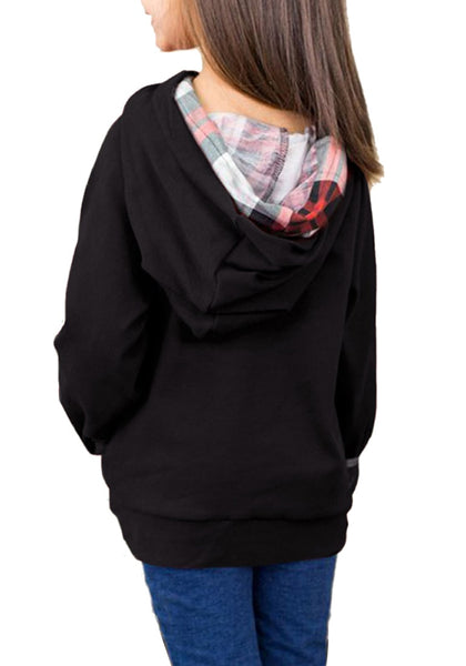 Back view of model wearing black oblique buttons double hood girl's pullover