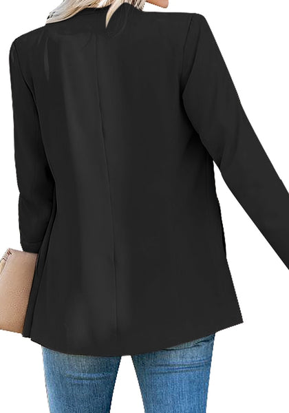 Back view of model wearing black open-front side pockets blazer