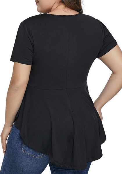Back view of model wearing black plus size cutout short sleeves peplum blouse