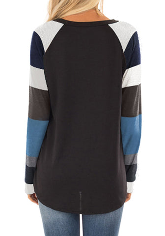 Black Raglan Sleeves Color Block Pullover Top