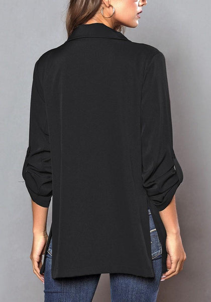 Back view of model wearing black roll-up sleeves side-slit notch lapel blazer