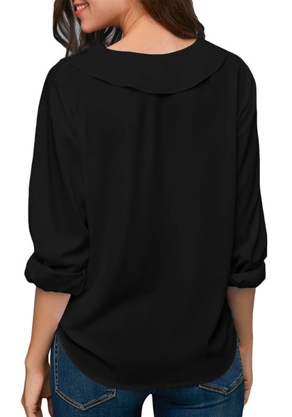 Back view of model wearing black roll sleeves lapel collar V-neck chiffon top