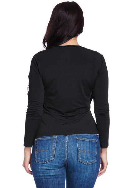 Back view of model wearing black ruched asymmetrical wrap top